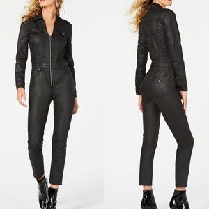 Guess Black Harrie Faux Leather Zippered Jumpsuit
